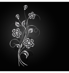 Silver flowers with shadow on dark background vector image vector image