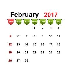 Simple calendar 2017 year february month vector