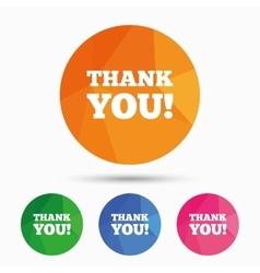 Thank you sign icon Gratitude symbol vector image vector image