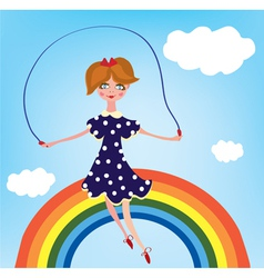 Girl cihild on the rainbow vector image vector image