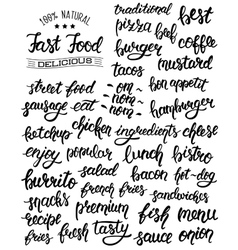 Hand lettering set of words for fast food with vector image vector image