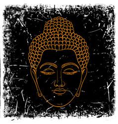 head buddha on grunge background vector image