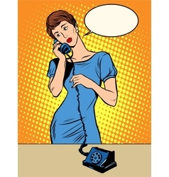 Hello girl answers the phone vector image vector image