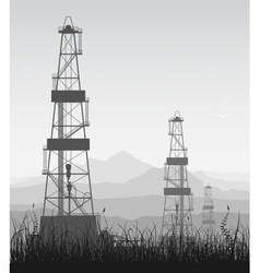 Landscape whith oil rigs over mountain range vector image vector image