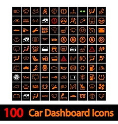 100 Car Dashboard Icons vector image