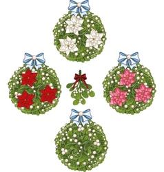Clip art set of Christmas mistletoe decorative vector image vector image