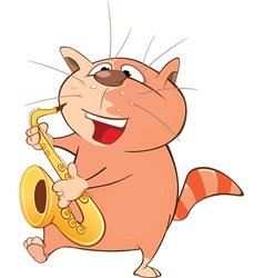 Cute Cat Saxophonist Cartoon vector image