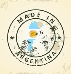 Stamp with map flag of Argentina vector image vector image