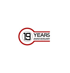 19 years anniversary with circle outline red vector