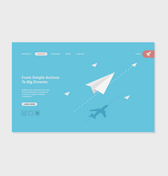 airplane landing success business web page vector image