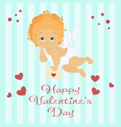 Angel is holding a love letter valentines day vector