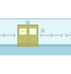 Background of hospital corridor with closed doors vector