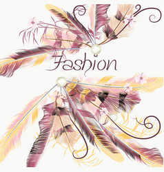 background with pink feathers vector image