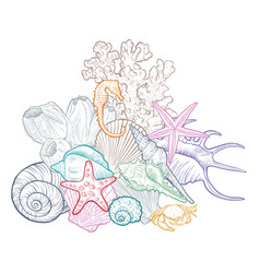 Background with seashells vector