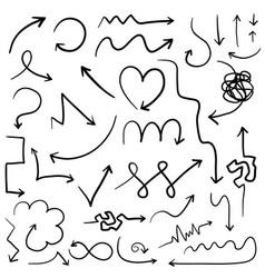 Big set of digital hand drawn arrows vector
