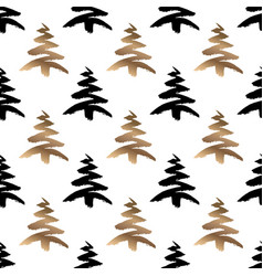 black and gold christmas tree seamless pattern vector image
