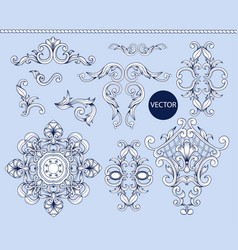 Blue baroque elements isolated vector