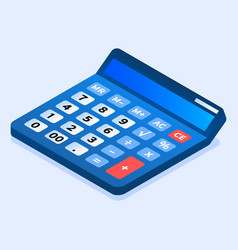 blue calculator icon isometric style vector image