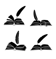 books and feathers silhouette isolated on vector image