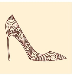 Brown ornamental shoe vector