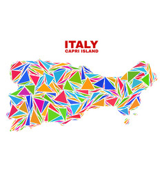 Capri island map - mosaic of color triangles vector