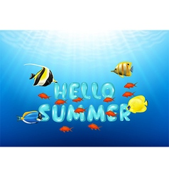 Cartoon of hello summer with tropical fish vector