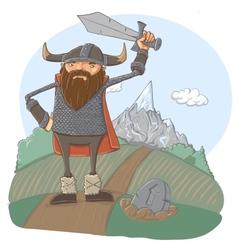 Cartoon viking vector image