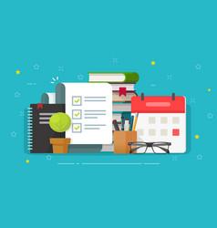 Check list document on desktop workplace vector
