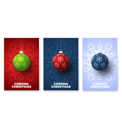 Christmas ball and quarantine coronavirus danger vector