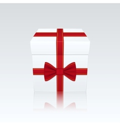 Closed White Gift Box With Red Bow on White vector image