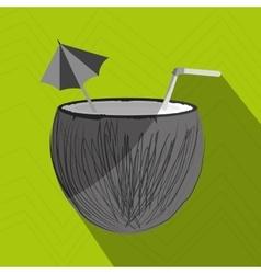 coconut cocktail design vector image