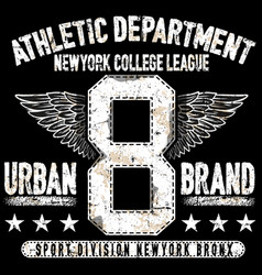 college new york typography t-shirt graphics vector image