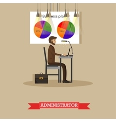 Company administrator work with computer in office vector