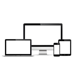 Computer display laptop tablet and mobile phone vector