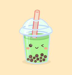 Cute boba bubble green tea drink glass cartoon vector