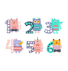 Cute kids anniversary numbers with animals cat vector