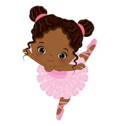 Cute little african american ballerina dancing vector