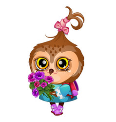 cute owl holding wing a bouquet flowers vector image