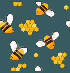 cute seamless pattern with flying bees and honey vector image
