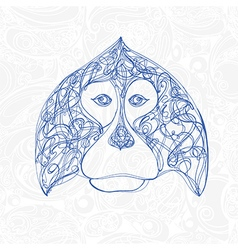 decorative head of monkey symbol new year vector image