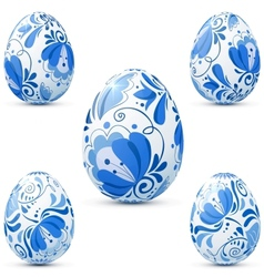 Easter eggs icon set in traditional russian style vector image
