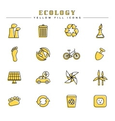 Ecology yellow fill icons set vector image