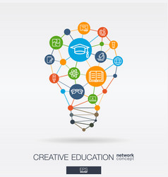 education integrated thin line icons digital vector image