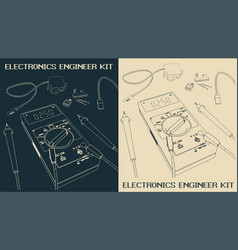 Electronics components set drawings vector
