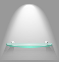 Empty color semicircular glass shelf vector