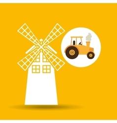 Farm countryside tractor cawler design vector