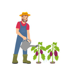 farming man with watering can vector image