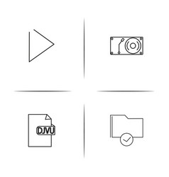 Files and folders sign simple linear icon vector