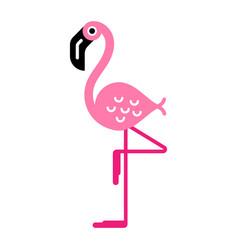 flamingo on one leg vector image