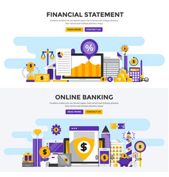 Flat design concept banners - financial statement vector